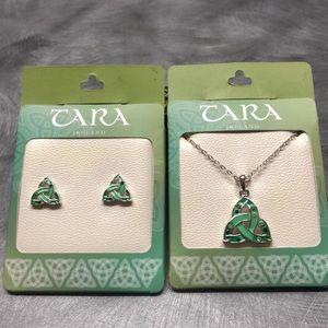 Silver Irish Celtic Knot Necklace & Earring Set